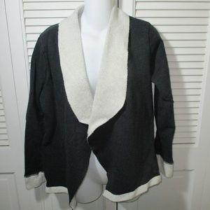 Hannah Two-Tone Gray Soft Cotton Open Cardigan M